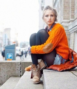 orange sweater