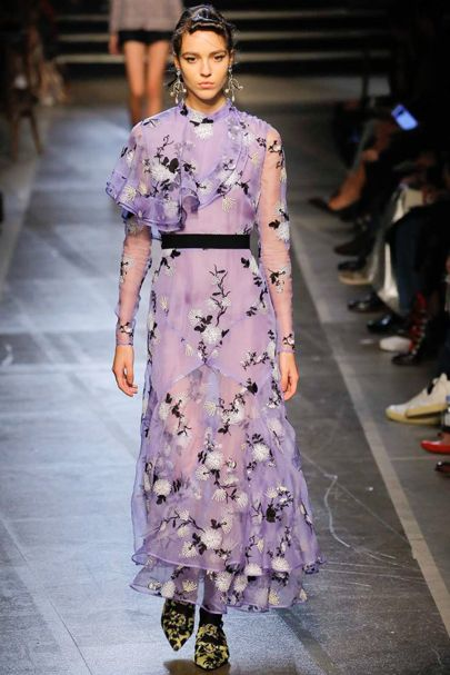 Erdem SS2018 violet Frou-Frou Dress