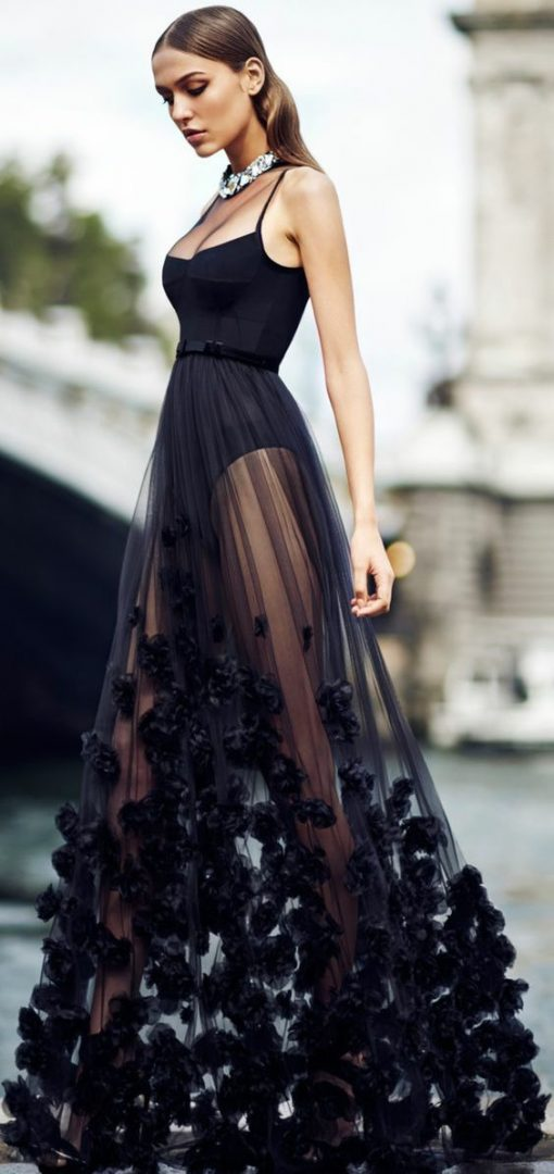 transparency black dress longue