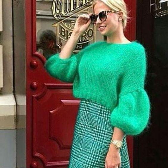 pulover de calitate verde mohair