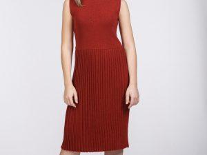 rochie plisată roșie