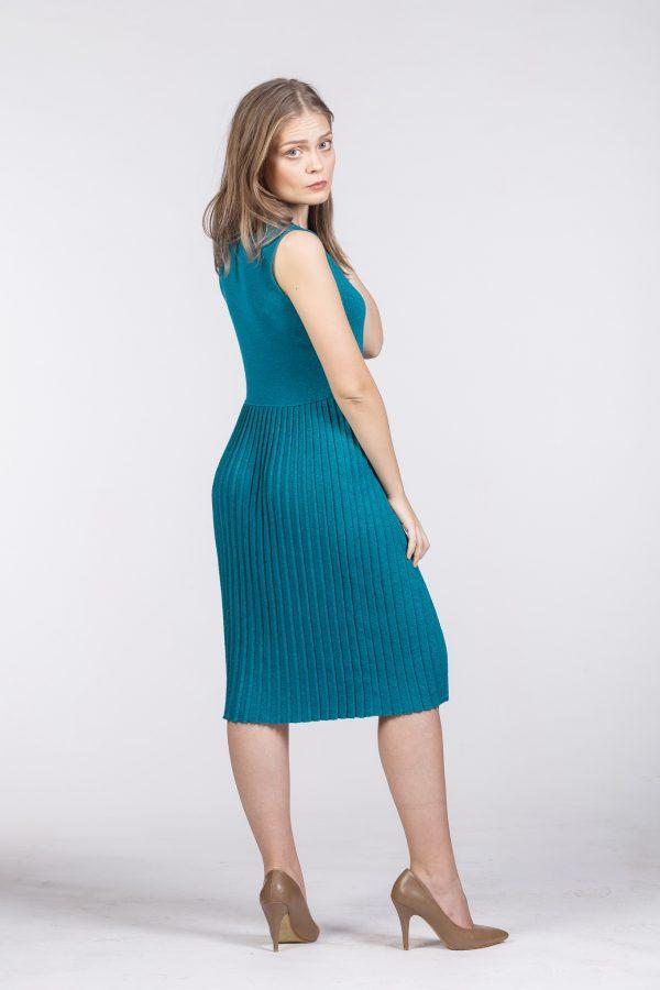 rochie tricotată turcoaz